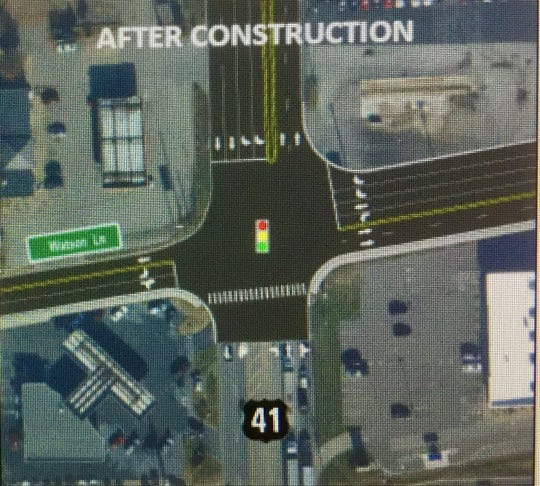 This is an overview of the proposed work at the intersection of U.S. 41-North and Watson Lane. The proposed work includes widening the roadway and adding turn lanes.