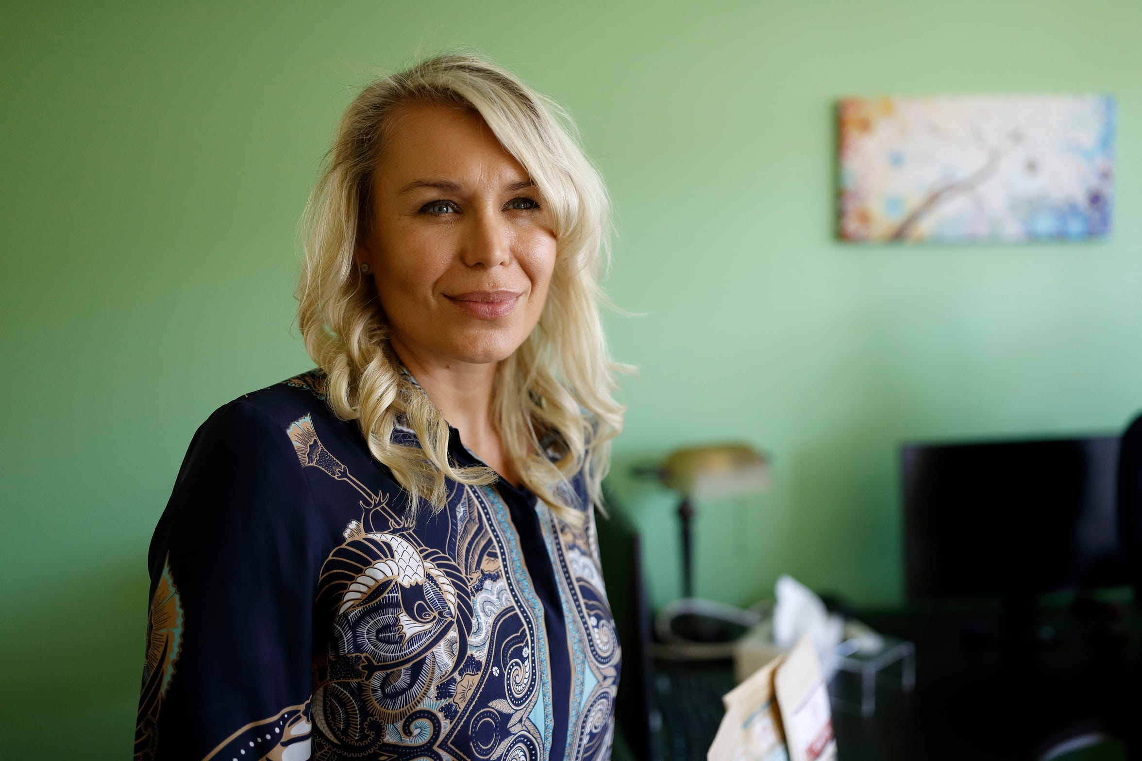 Katarina Maloney is pictured in her company's offices in Carlsbad, Calif., on Aug. 27, 2019. Maloney is the CEO of Mathco Health Corporation, which sells products made with the cannabis extract CBD.
