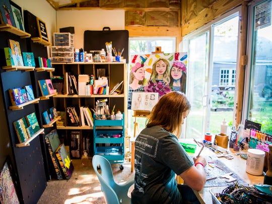Inside artist Gwyn Pevonka's backyard art studio in Knoxville on Tuesday, Sept. 10, 2019.