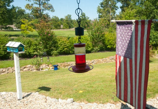 Bird feeders are placed just outside the screened-in back porch of the McManus home.