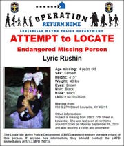 A Louisville police flyer for missing girl Lyric Rushin. Sept. 16, 2019