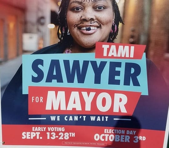 A Sawyer For Mayor campaign sign was vandalized outside Berclair Church of Christ on 4536 Summer Ave. Monday, Sept. 16. A racial slur was scrawled on Tami Sawyer's forehead.