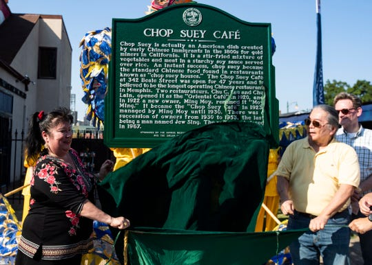 The Chop Suey Cafe historical marker is unveiled on Beale Street in Memphis on Sunday, Sept. 15, 2019.