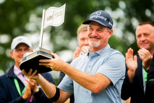 Madison's Jerry Kelly, shown here after winning the final round of the Ally Challenge last month, won the SAS Championship on Sunday.