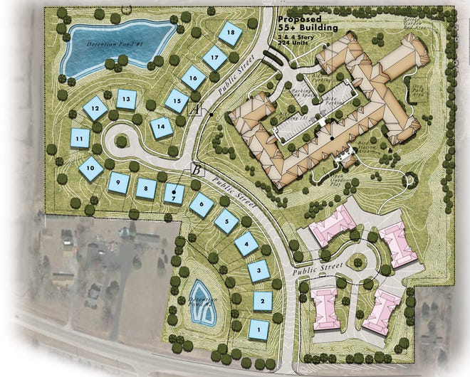 A development that includes a 224-unit senior apartment complex, along with 18 single-family lots and 32 townhomes, isproposed for Menomonee Falls. The 30-acre development would be on the north side of Lisbon Road, about a quarter-mile east of Lannon Road.