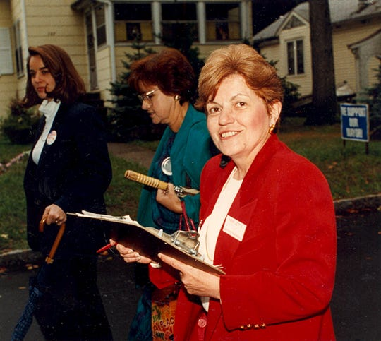 Former Parsippany-Troy Hills Mayor Mimi Letts hits the neighborhood campaign trail with some of her supporters in September 1993.