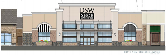 This rendering shows a DSW Shoe Warehouse store for The Oaks shopping center at the southeast corner of Medical Center Parkway and Thompson Lane in Murfreesboro's Gateway area.