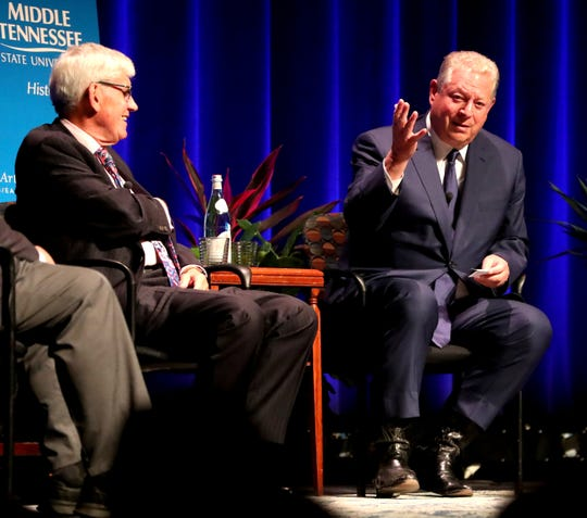 Former U.S. Vice President Al Gore, right, speaks at MTSU on Monday.