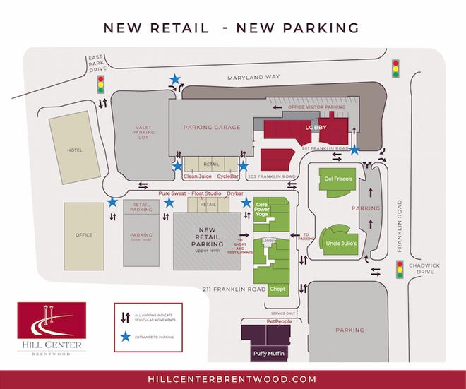 A map of where new retailers in Brentwood's Hill Center are opening as work is completed on the development's second phase.