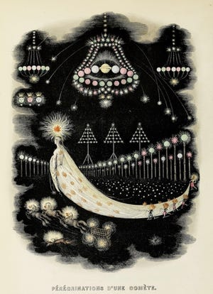 """J.J. Grandville (French, 1803–1847), """"The Wanderings of a Comet from Un Autre Monde. Transformations, visions, incarnations...et autres choses (Another World. Transformations,visions, incarnations... and other things), 1844, Authored by Taxile Delord (French, 1815–1877); Published by H. Fournier, Paris Illustrated book with 133 woodcut vignettes, 15 full-page woodcuts, and 36 hand-colored plates Baudelaire Collection, W.T"""