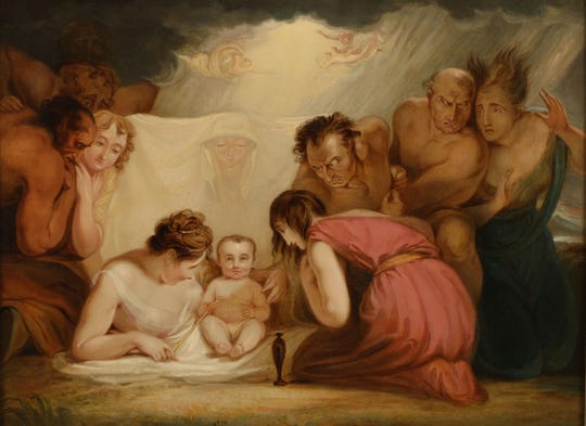 "George Romney (British, 1734–1802), ""The Infant Shakespeare Attended by Nature and the Passions,"" ca. 1786/1791, oil on canvas, 17 1/2 x 23 ½"".  Vanderbilt Art Association Acquisition Fund Purchase Collection of Vanderbilt University Fine Arts Gallery 1972."