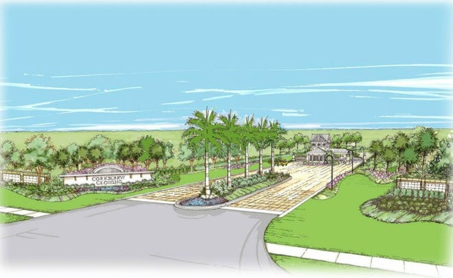 A drawn rendering of the entrance to Corkscrew Crossing, a community planned on east Corkscrew Road in Estero.