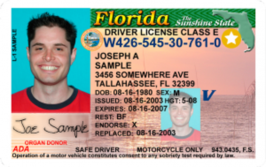 Example of a REAL ID compliant driver license featuring the gold star in the upper right hand corner.