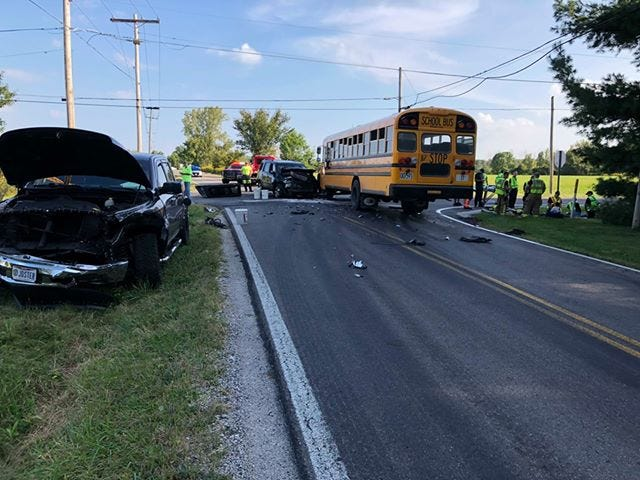 A Southwest Licking Schools bus was involved in a crash on Monday morning.