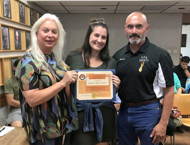"""Deming MainStreet presented former local business owner Amanda """"Mandi"""" Sanders with a certificate of appreciation for her work in helping to revitalize the Deming downtown business district during last week's City Council Meeting. Sanders is the former owner of the Copper Kettle Coffee Shop and was instrumental is bringing the public to downtown Deming for various events. Pictured, from left, are DMS Executive Director Christie Ann Harvey, Sanders and Deming Mayor Benny Jasso."""