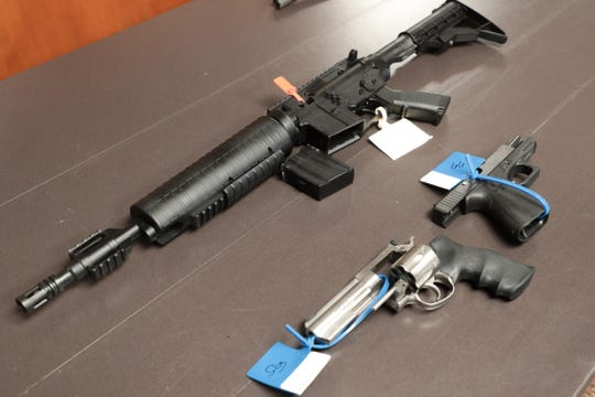 Police have confiscated a revolver, glock and replica AR-15 from Desert Hot Springs High School students. The guns were displayed on Monday, September 16, 2019.
