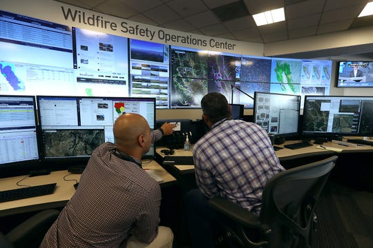 Analysts at the Pacific Gas and Electric (PG&E) Wildfire Safety Operations Center monitor a wildfire on August 05, 2019 in San Francisco, California. PG&E opened up its Wildfire Safety Operations Center earlier this year that will monitor potential wildfire threats throughout its service area.