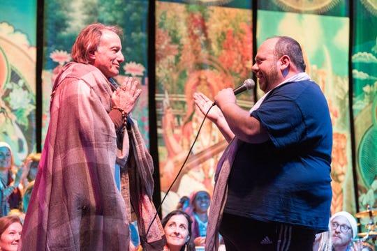 Sridhar Silberfein (left) and Bhakti Fest music coordinator Shiva Baul (right).