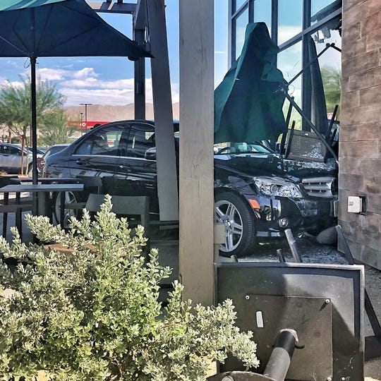 A 71-year-old woman crashed her Mercedes into an Indio Starbucks Monday, but no one was hurt, police said.