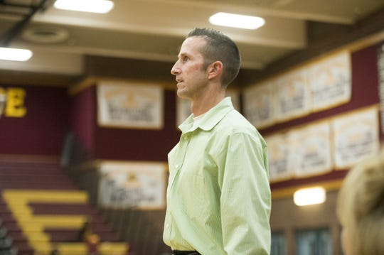 Mountain Pointe head coach Justin Hager watches his team in the second half against Valley Vista at Mountain Pointe High School in Phoenix on Friday, Dec. 2, 2016.