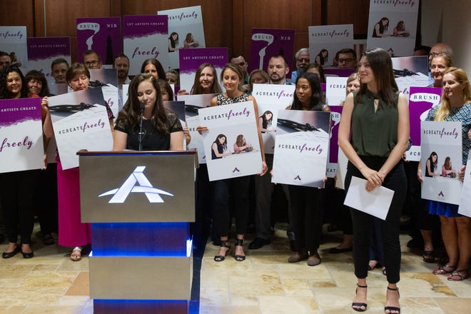 Breanna Koski, co-owner of Brush and Nib Studio, speaks at a press conference after the Arizona Supreme Court ruled Breanna Koski and Joanna Duka do not have to create same sex wedding invitations. September 16, 2019.