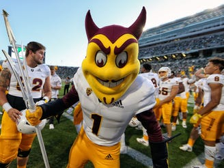 Sparky, the Arizona State mascot, celebrates after the Sun Devils' victory over Michigan State on Sept. 14 at Spartan Stadium.