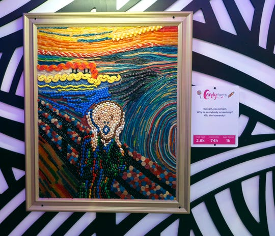 """Edvard Munch's """"The Scream,"""" as re-created for Candytopia Houston."""
