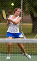Kennard-Dale's Grace Maccarelli plays in the #3 ranked match against Bermudian Springs, Monday, September 16, 2019.