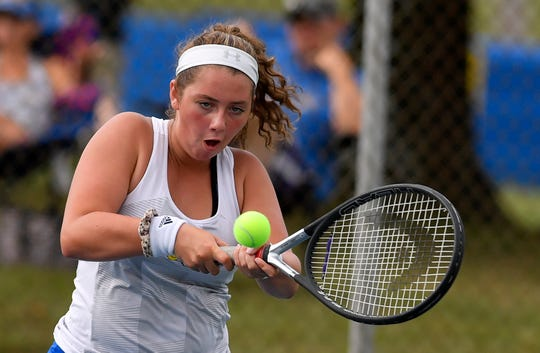 Kennard-Dale's Brianna Serruto plays Bermudian Springs' Haley Sullivan in the No. 2 singles match, Monday, September 16, 2019. John A. Pavoncello photo