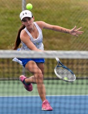 Brianna Miller, seen here in a file photo, picked up a singles win for Kennard-Dale on Thursday.