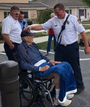 Several firefighters from the York City Department of Fire visited George Kroll on Friday, Sept. 6. A firetruck was brought along, fulfilling Kroll's wish of seeing one again.