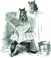 A cartoon of a horse reading a newspaper