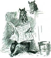 A cartoon of a horse reading a newspaper