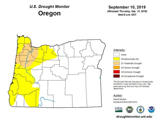 Much of western Oregon was abnormally dry or in drought as of Sept. 10, 2019.