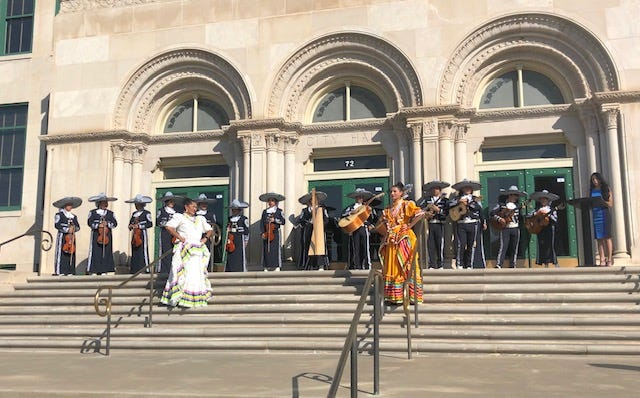 Dr. Flor Madero of Angelo State University gives a Diez y Seis de Septiembre celebration speech this morning at City Hall with the Lake View Mariachi.