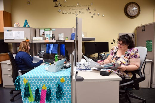 Audrey She'd and Lisa Barlow, both registered psychiatric nurses, work at the nurse's station at the Avera Behavioral Health Center on Monday, September 16, in Sioux Falls.