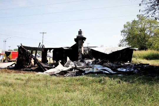 A building was destroyed by a fire Monday in north Springfield.