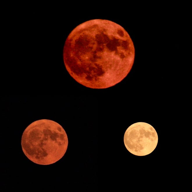 Mindy Jacoway took photos of the harvest moon on Friday from 7:23 CST to 7:45 CST in Nashville, Tennessee. This image shows three color phases of the moon during that time period.