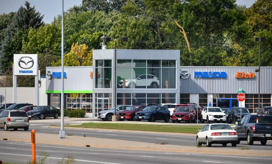 The current Eich Motor Co. Mazda dealership on West Division Street is pictured Monday, Sept. 16, 2019, in St. Cloud. A new building will be constructed at the corner of West Division Street and Cooper Avenue and is expected to open in May 2020.
