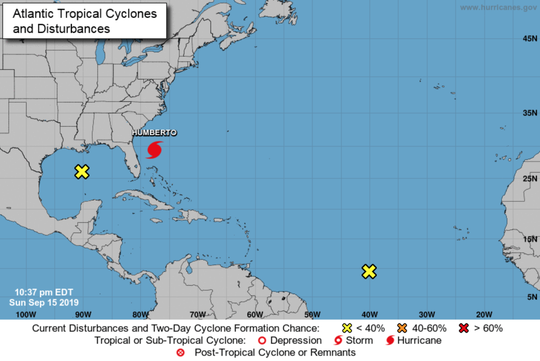 A look at the three systems in the Atlantic and Gulf of Mexico as of 11 p.m., Sunday, Sept. 15, 2019.