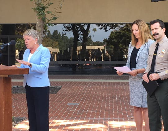 Rep. Julia Brownley, D-Westlake Village, Assemblywoman Jacqui Irwin, D-Thousand Oaks, and Ventura County Sheriff Bill Ayub were at a news conference Monday to talk about legislation that would require suicide prevention information on gun packaging.