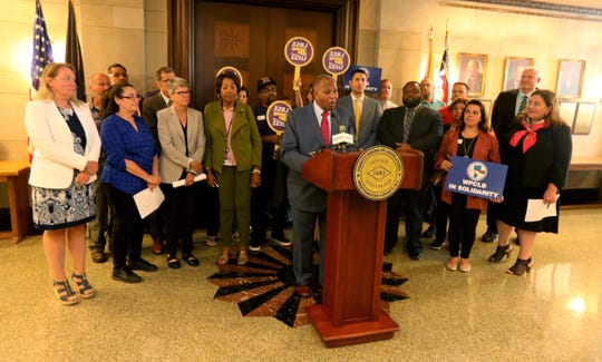 Benjamin Boykin, chairman of the Westchester County Board of Legislators, is surrounded by members of union 32 BJ SEIU as speaks during a news conference outside the legislators chambers in White Plains Sept.16, 2019. Boykin and other legislators will be seeking to strengthen a law protecting displaced workers when building ownership or service contracts change hands. This law will effect workers such as cleaning crews who work in office buildings.