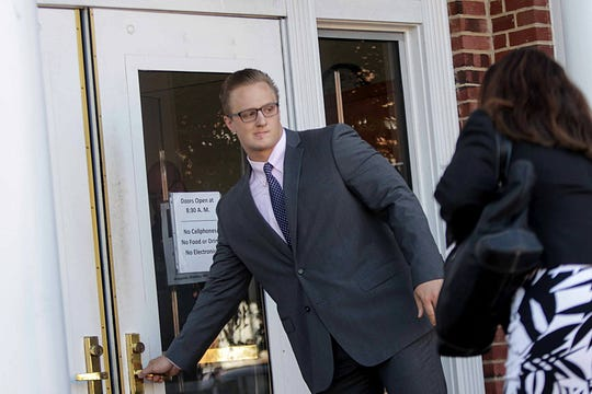 23-year-old Clay Conaway, a former University of Delaware baseball pitcher and Sussex County resident, enters the Delaware Superior Court in Georgetown on Monday morning, to face charges of raping or attempting to rape six women between 2013 and 2018.