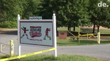 Police say human remains were found near a softball field in Smyrna and are believed to be those of a young child, less than 10 years old.   Video provided by John J. Jankowski.   9/16/19