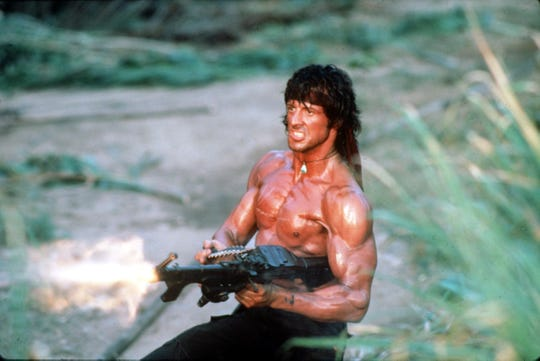"""Sylvester Stallone roars into action in """"Rambo: First Blood Part II."""""""