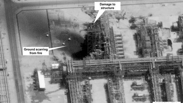 This image provided on Sept. 15, 2019, by the U.S. government and DigitalGlobe shows damage to the infrastructure at Saudi Aramco's Kuirais oil field in Buqyaq, Saudi Arabia.