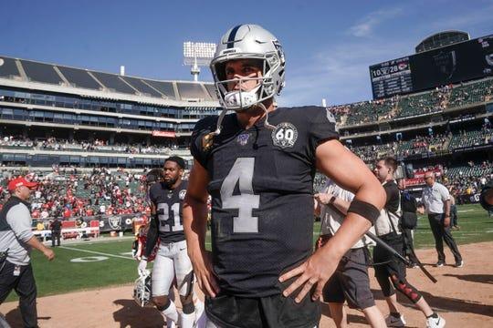 Oakland Raiders quarterback Derek Carr (4) after the game against the Kansas City Chiefs at the Oakland Coliseum.