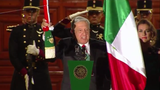President Andres Manuel Lopez Obrador performs the ceremonial duty of 'El Grito' or 'the shout' to mark the start of Independence Day celebrations.
