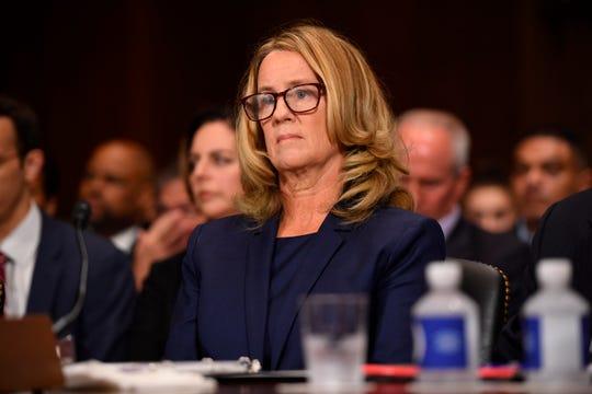 Christine Blasey Ford testifies to the Senate Judiciary Committee in Washington on Sept. 27, 2018.