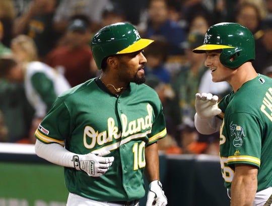 Shortstop Marcus Semien and third baseman Matt Chapman have been two of Oakland's biggest contributors.